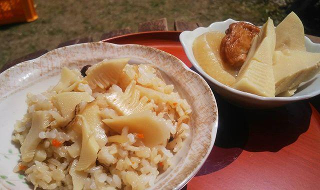 田植えの昼ごはんはもちろん筍姫#筍姫 #筍姫の里 #阿波たけのこ農園 #農家 #昼ごはん #ランチ #たけのこごはん #田植え #tokushima #japan