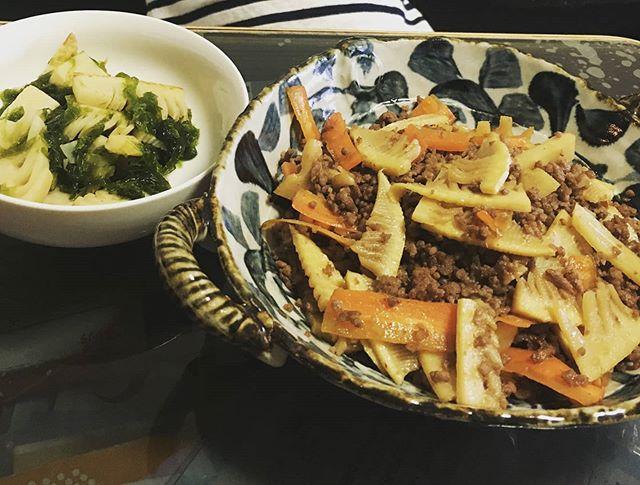 筍姫のそぼろ炒め&若竹煮