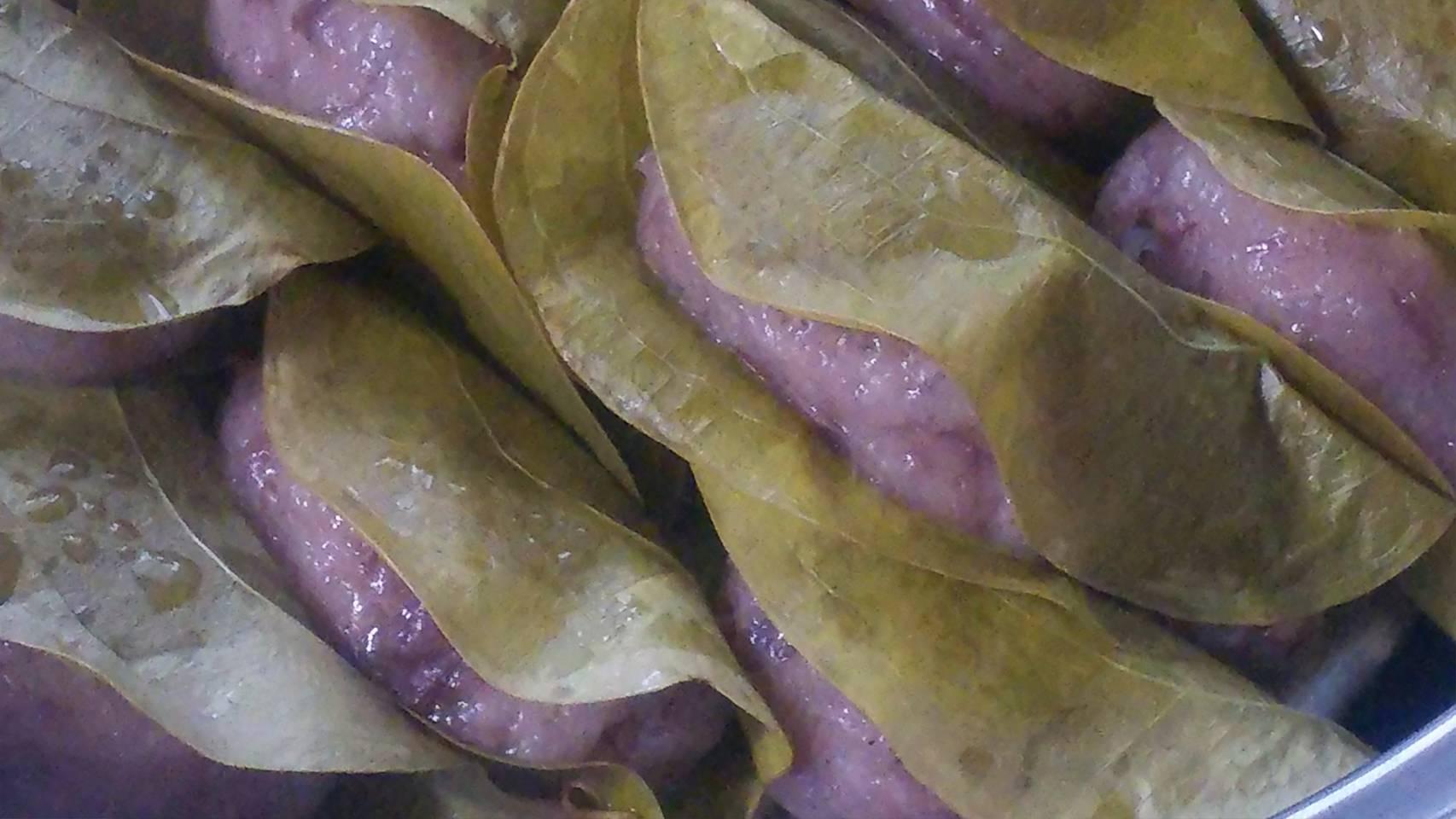 竹林の葉っぱで柏餅づくり