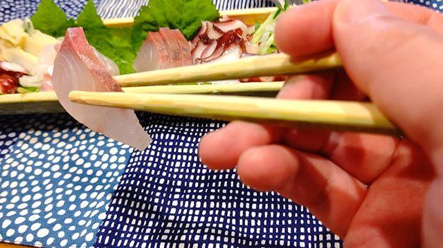 DIYの竹のお箸でお刺身たべてみた