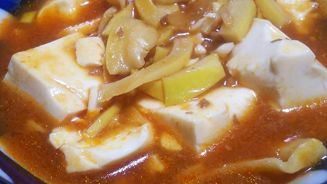 麻婆豆腐スライス筍姫を投入タケノコってほんま煮込み系、中華に合うのでこれはオススメ#筍姫 #タケノコ #麻婆豆腐 #マーボー #タケノコレシピ #豆腐 #国産 #料理好きな人と繋がりたい #阿波たけのこ農園