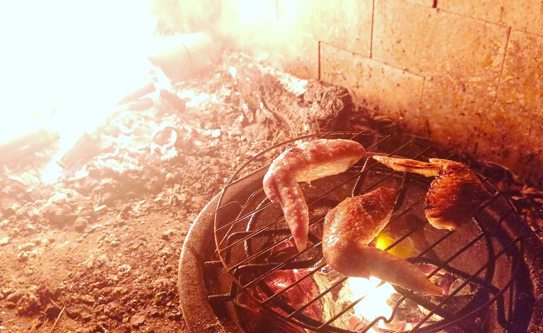 竹でたき火いこった竹炭で手羽先も焼いちゃいます️虫たちも気持ち良さそうに鳴いてます🦗#竹 #たき火 #キャンプ #camp #camping #fire #阿波たけのこ農園 #bamboo #ソロキャンプ