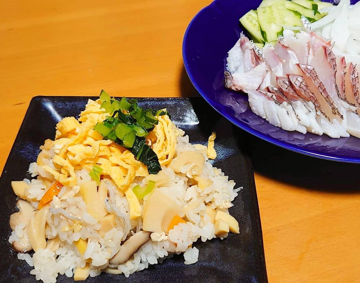 筍姫のちらし寿司&鯛の湯引き